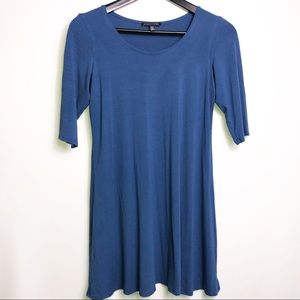 EILEEN FISHER BLUE VISCOSE SPANDEX TUNIC TOP  XS